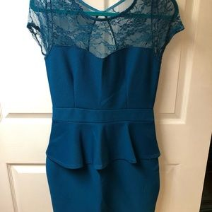Turquoise Peplum Mini dress